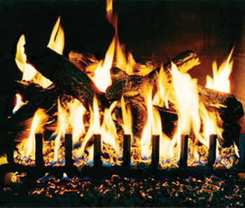 Eiklor Gas Logs for fireplace and low heat from Village Fireplace and Stove Center in York PA